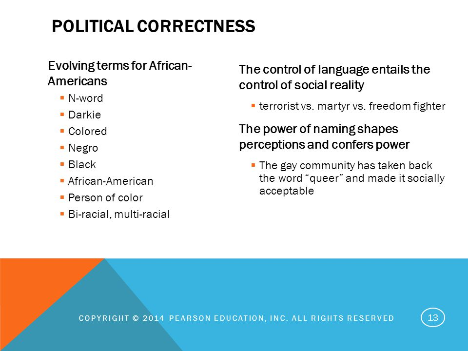 Evolving terms for African- Americans  N-word  Darkie  Colored  Negro  Black  African-American  Person of color  Bi-racial, multi-racial The control of language entails the control of social reality  terrorist vs.