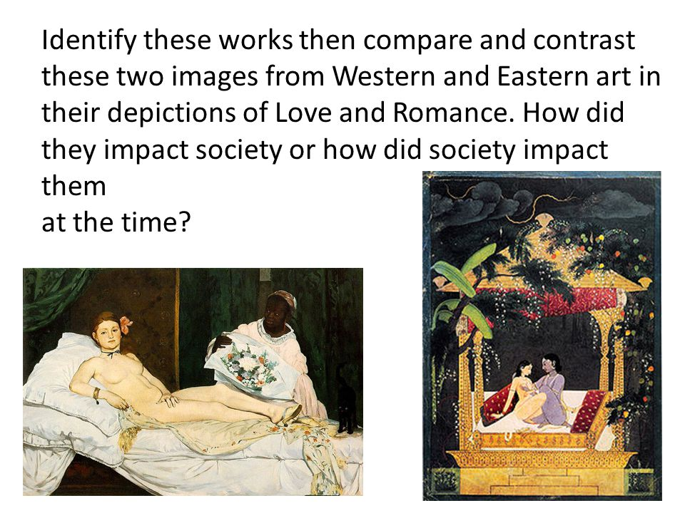 Identify these works then compare and contrast these two images from Western and Eastern art in their depictions of Love and Romance.
