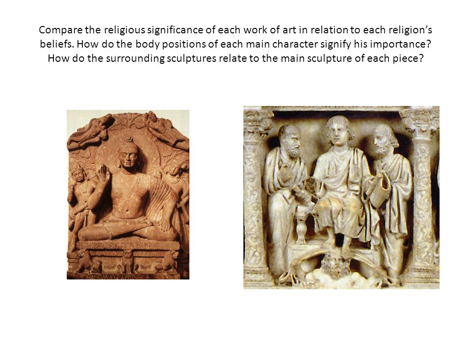 Compare the religious significance of each work of art in relation to each religion's beliefs.