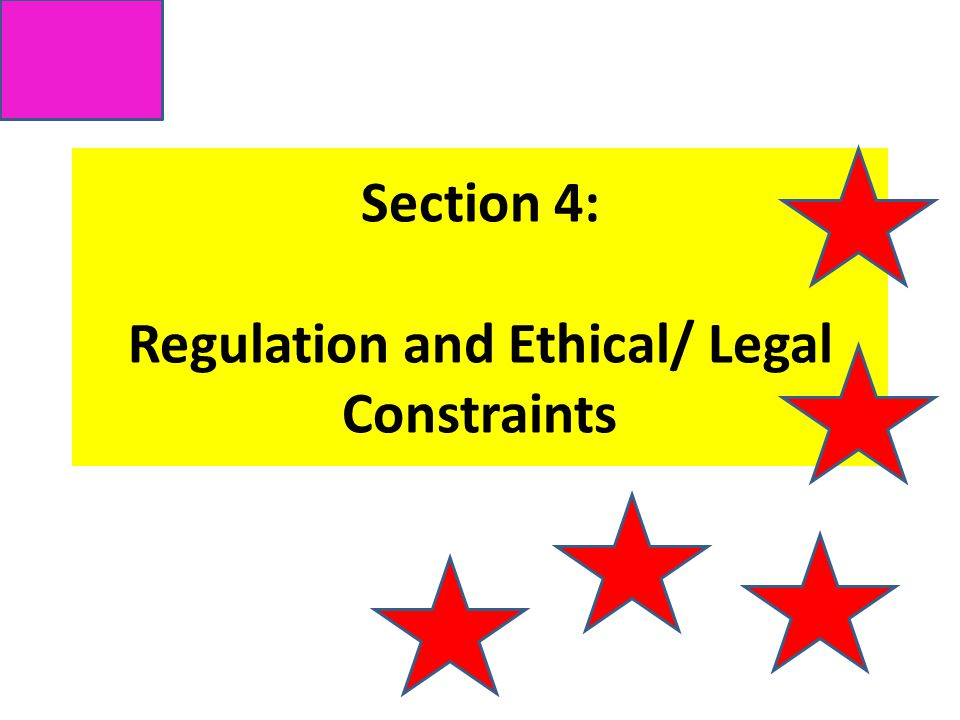 Section 4: Regulation and Ethical/ Legal Constraints
