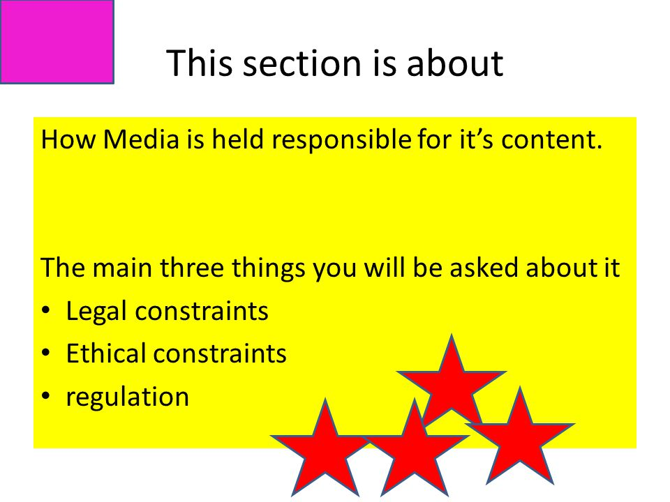 This section is about How Media is held responsible for it's content.