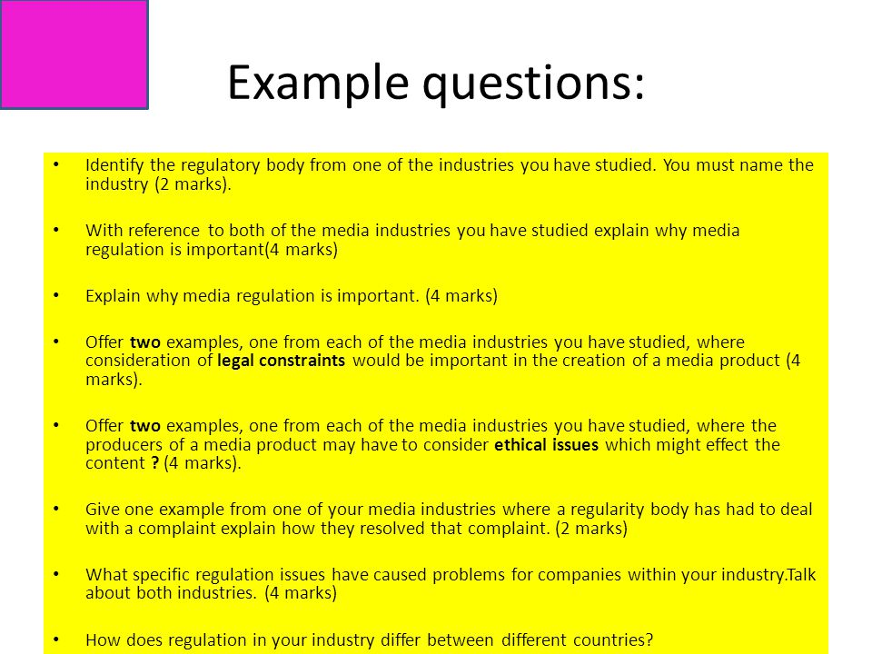 Example questions: Identify the regulatory body from one of the industries you have studied.