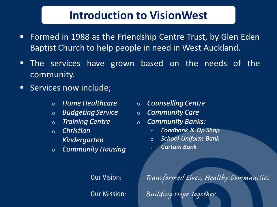  Formed in 1988 as the Friendship Centre Trust, by Glen Eden Baptist Church to help people in need in West Auckland.