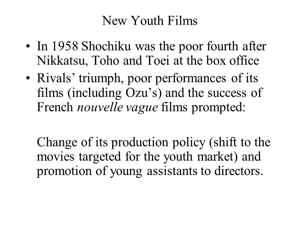 New Youth Films In 1958 Shochiku was the poor fourth after Nikkatsu, Toho and Toei at the box office Rivals' triumph, poor performances of its films (including Ozu's) and the success of French nouvelle vague films prompted: Change of its production policy (shift to the movies targeted for the youth market) and promotion of young assistants to directors.