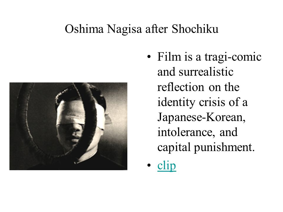 Oshima Nagisa after Shochiku Film is a tragi-comic and surrealistic reflection on the identity crisis of a Japanese-Korean, intolerance, and capital punishment.