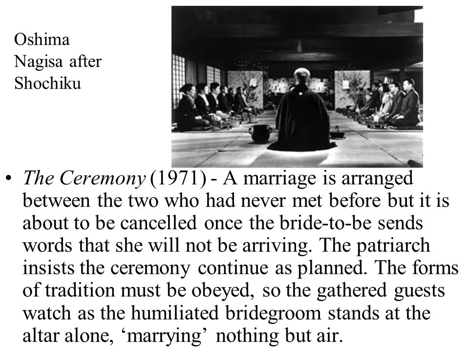 Oshima Nagisa after Shochiku The Ceremony (1971) - A marriage is arranged between the two who had never met before but it is about to be cancelled once the bride-to-be sends words that she will not be arriving.