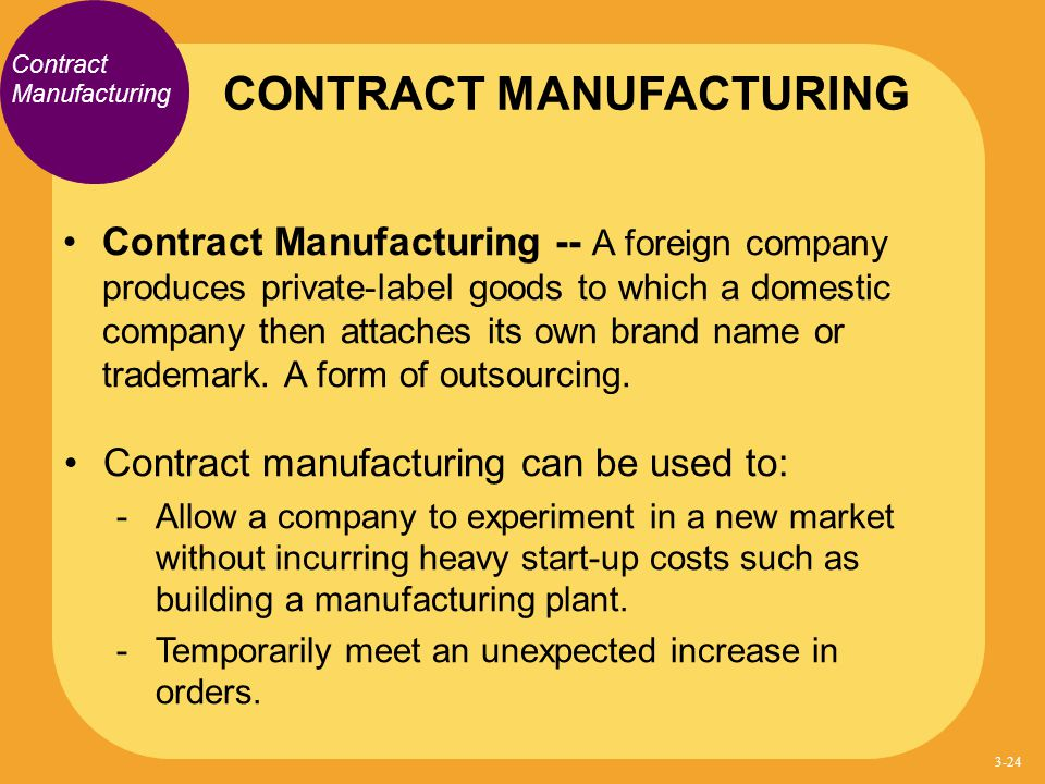 Contract Manufacturing Contract Manufacturing -- A foreign company produces private-label goods to which a domestic company then attaches its own bran