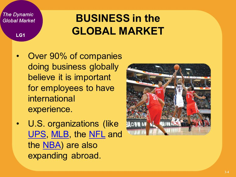 The Dynamic Global Market Over 90% of companies doing business globally believe it is important for employees to have international experience. U.S. o
