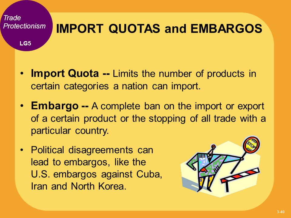 Trade Protectionism Import Quota -- Limits the number of products in certain categories a nation can import. Embargo -- A complete ban on the import o