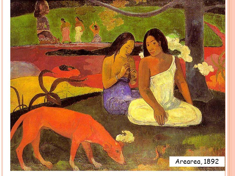 A REAREA Subject matter: Simple scene of rural Tahitian natives Title: 'Arearea' means 'joyousness' in Tahitian.