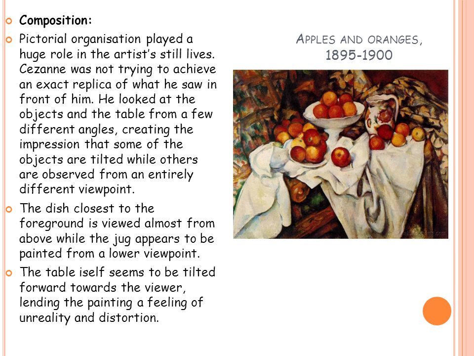 A PPLES AND ORANGES, 1895-1900 Composition: Pictorial organisation played a huge role in the artist's still lives.