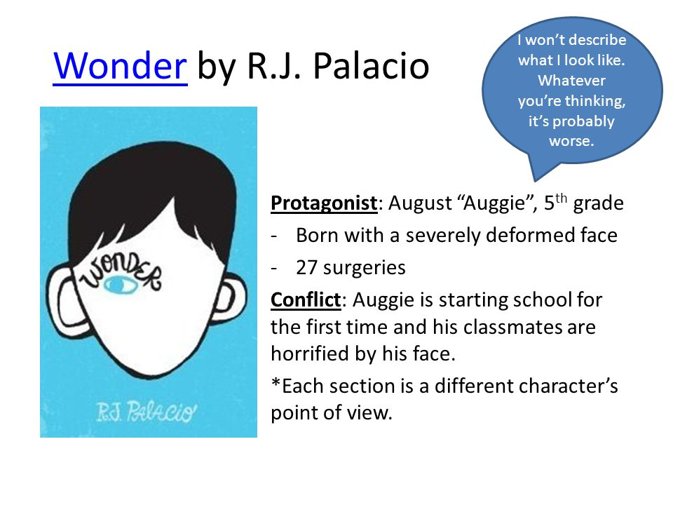 """WonderWonder by R.J. Palacio Protagonist: August """"Auggie"""", 5 th grade -Born with a severely deformed face -27 surgeries Conflict: Auggie is starting s"""