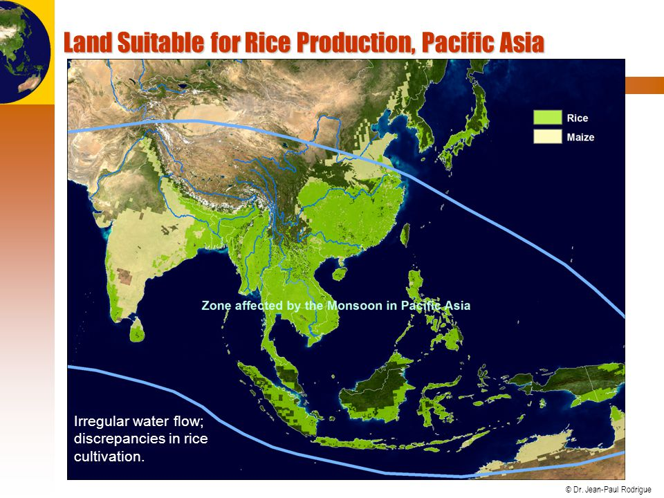 © Dr. Jean-Paul Rodrigue Land Suitable for Rice Production, Pacific Asia Irregular water flow; discrepancies in rice cultivation.