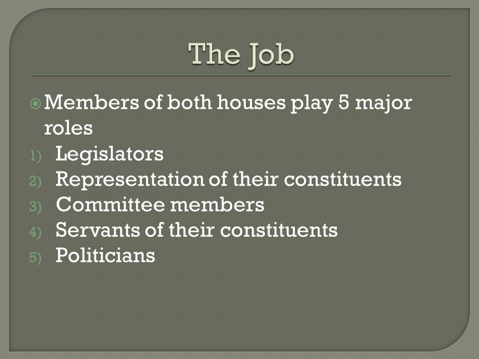  Members of both houses play 5 major roles 1) Legislators 2) Representation of their constituents 3) Committee members 4) Servants of their constituents 5) Politicians