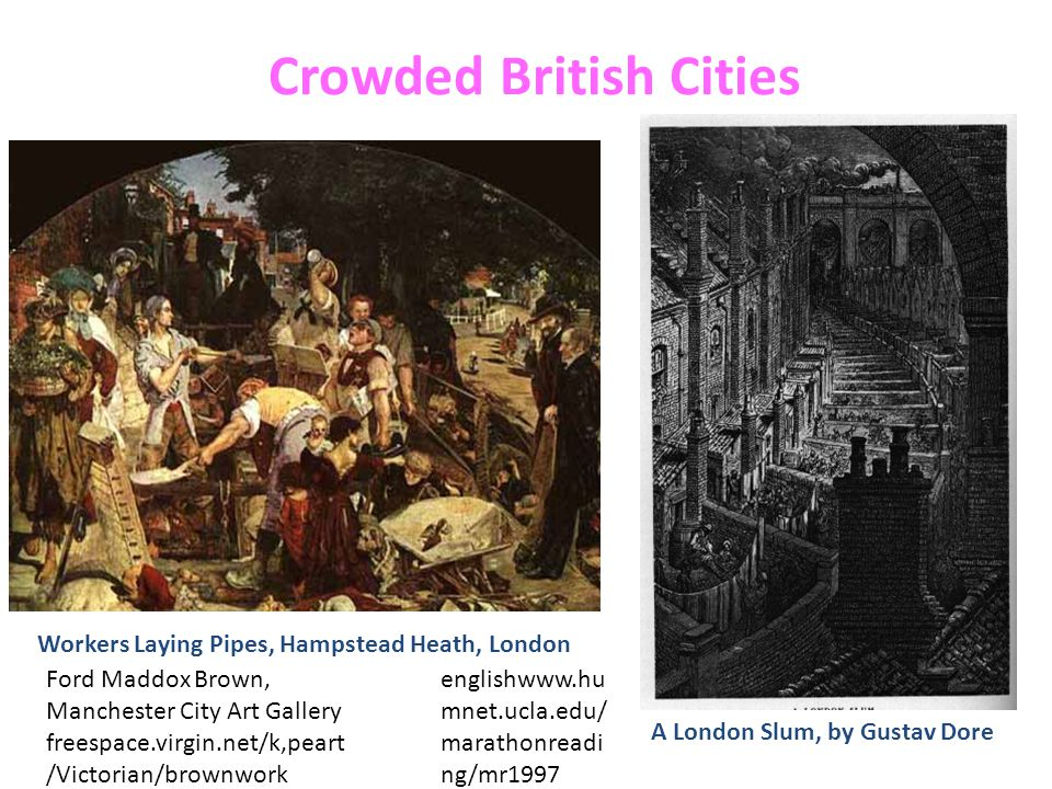 Crowded British Cities Workers Laying Pipes, Hampstead Heath, London Ford Maddox Brown, Manchester City Art Gallery freespace.virgin.net/k,peart /Vict