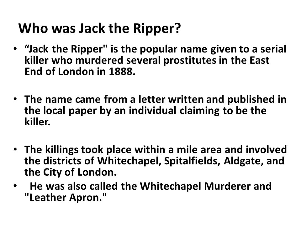 "Who was Jack the Ripper? ""Jack the Ripper"