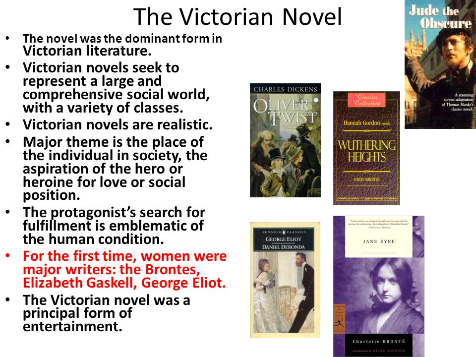 The Victorian Novel The novel was the dominant form in Victorian literature. Victorian novels seek to represent a large and comprehensive social world