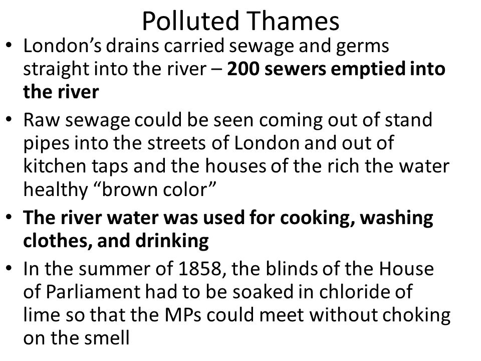 Polluted Thames London's drains carried sewage and germs straight into the river – 200 sewers emptied into the river Raw sewage could be seen coming o