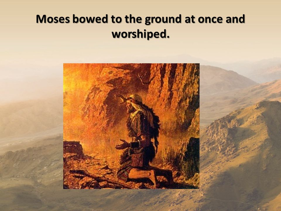 Moses bowed to the ground at once and worshiped.