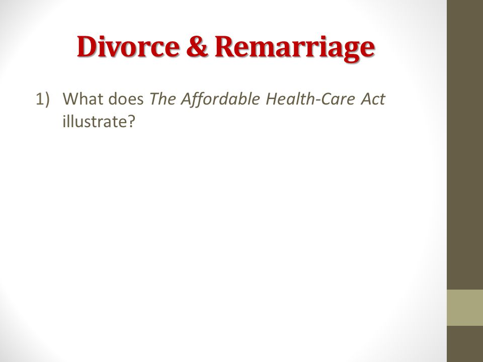 Divorce & Remarriage 1)What does The Affordable Health-Care Act illustrate?