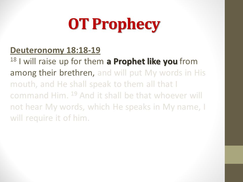 OT Prophecy Deuteronomy 18:18-19 a Prophet like you 18 I will raise up for them a Prophet like you from among their brethren, and will put My words in His mouth, and He shall speak to them all that I command Him.