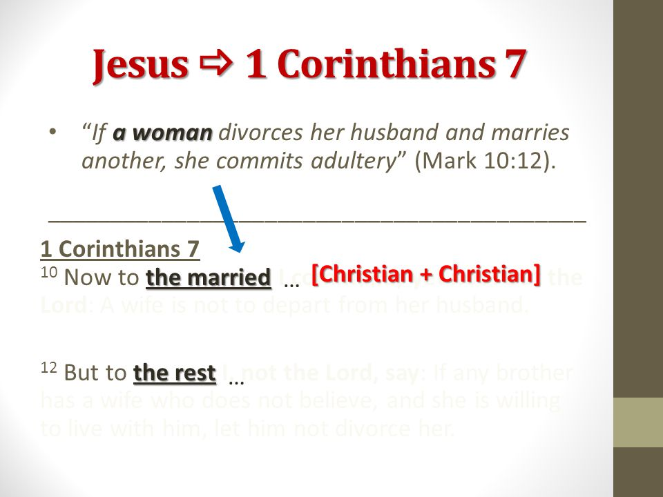 Jesus  1 Corinthians 7 a woman If a woman divorces her husband and marries another, she commits adultery (Mark 10:12).