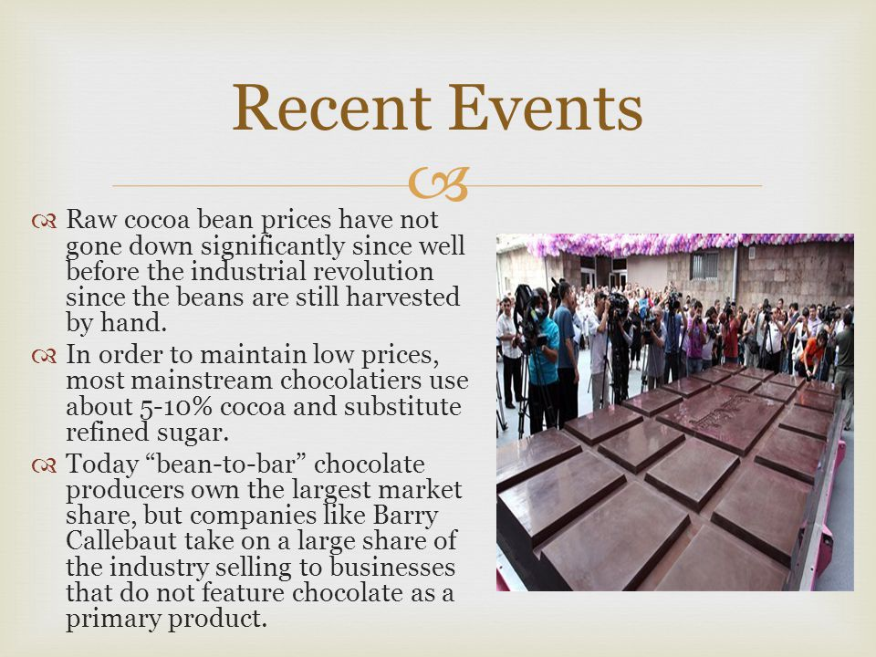 Recent Events  Raw cocoa bean prices have not gone down significantly since well before the industrial revolution since the beans are still harvest