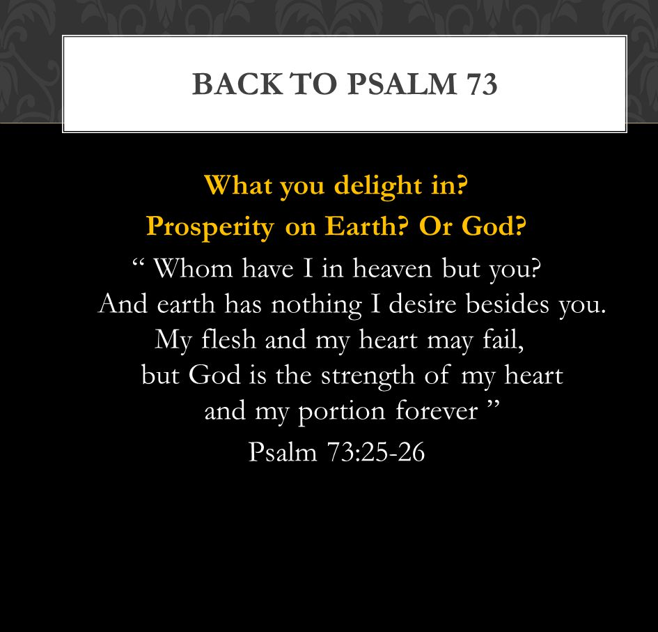BACK TO PSALM 73 What you delight in. Prosperity on Earth.