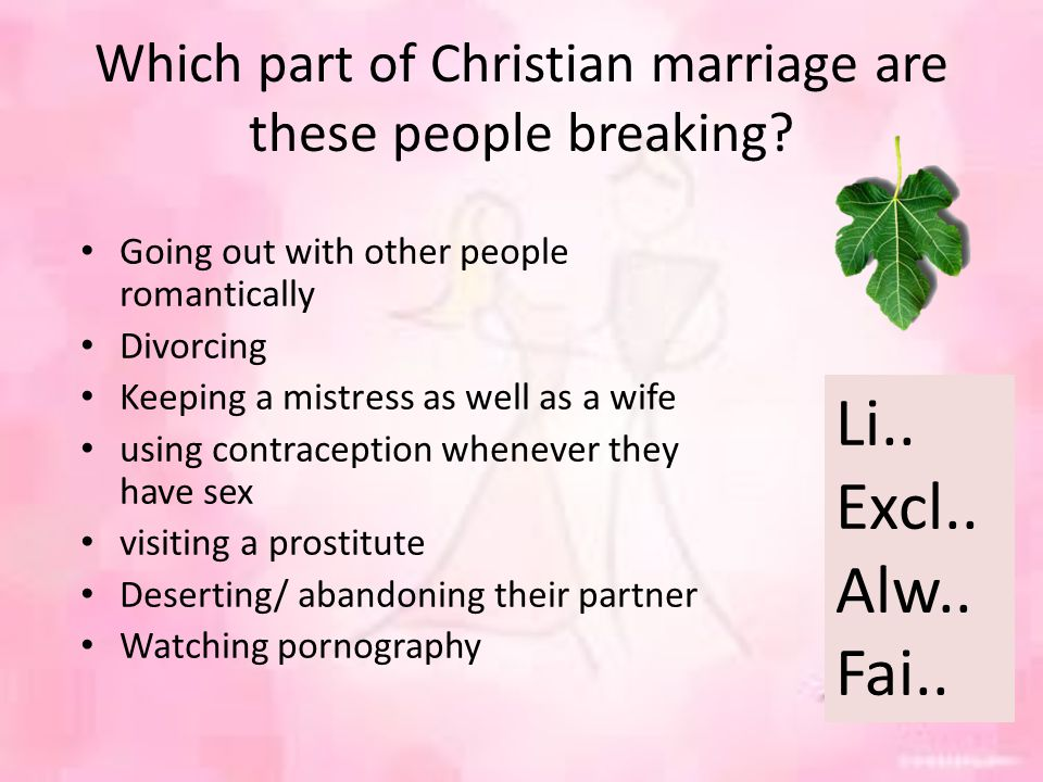 Which part of Christian marriage are these people breaking.