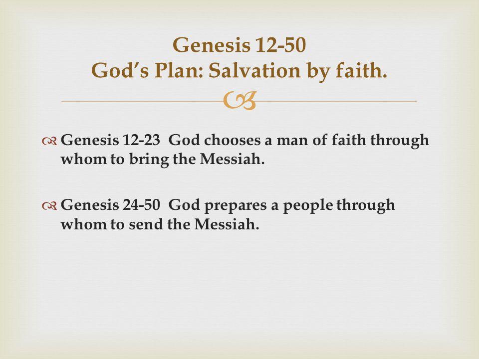  Genesis 12-50 God's Plan: Salvation by faith.