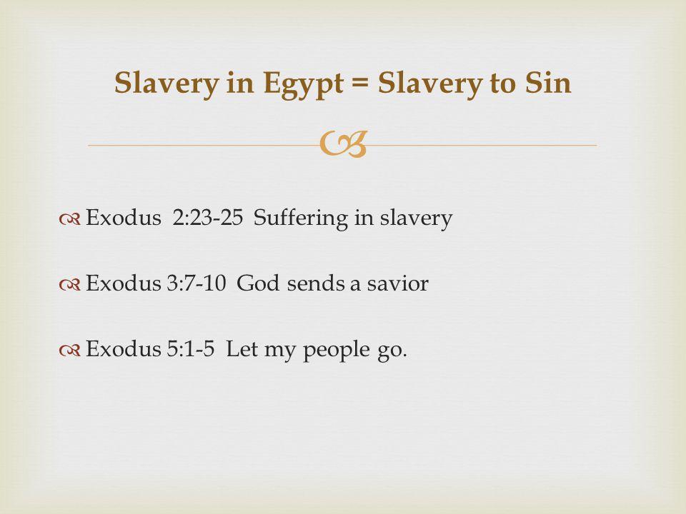   Exodus 2:23-25 Suffering in slavery  Exodus 3:7-10 God sends a savior  Exodus 5:1-5 Let my people go.