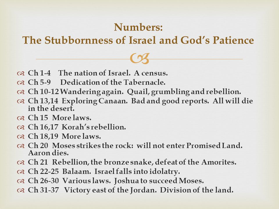   Ch 1-4 The nation of Israel. A census.  Ch 5-9 Dedication of the Tabernacle.