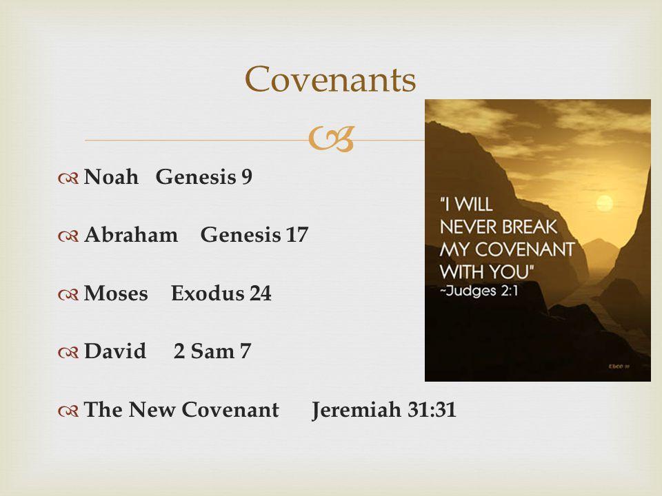   Noah Genesis 9  Abraham Genesis 17  Moses Exodus 24  David 2 Sam 7  The New Covenant Jeremiah 31:31 Covenants