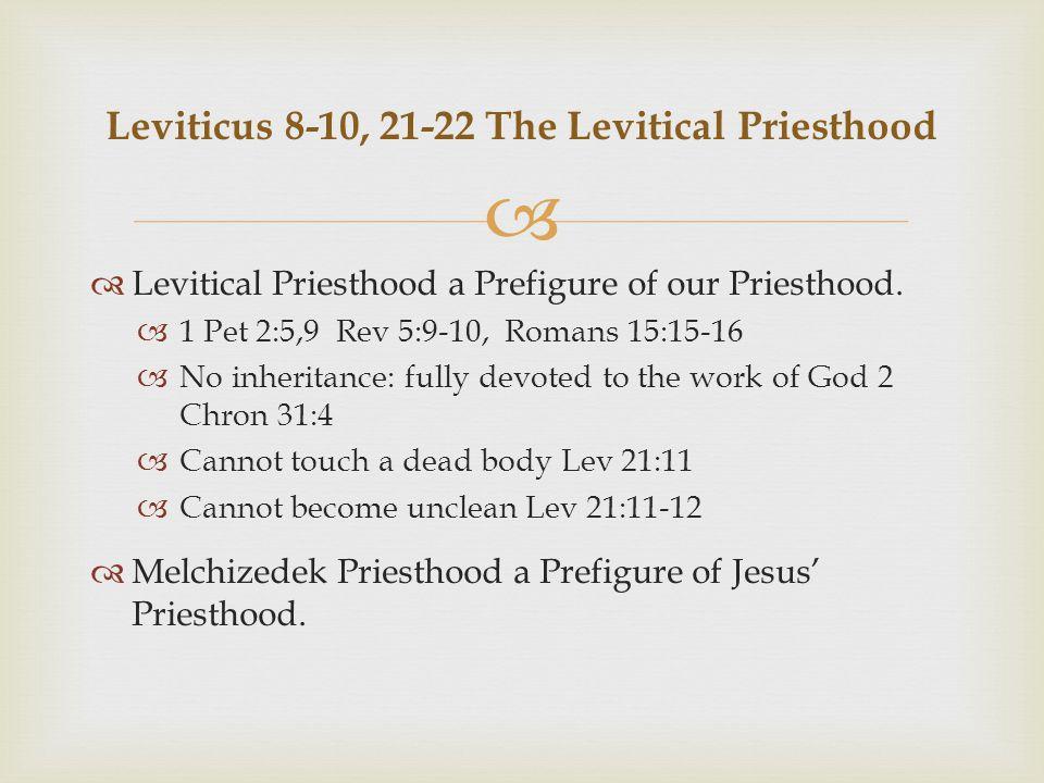   Levitical Priesthood a Prefigure of our Priesthood.