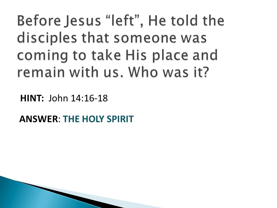 HINT: John 14:16-18 ANSWER: THE HOLY SPIRIT