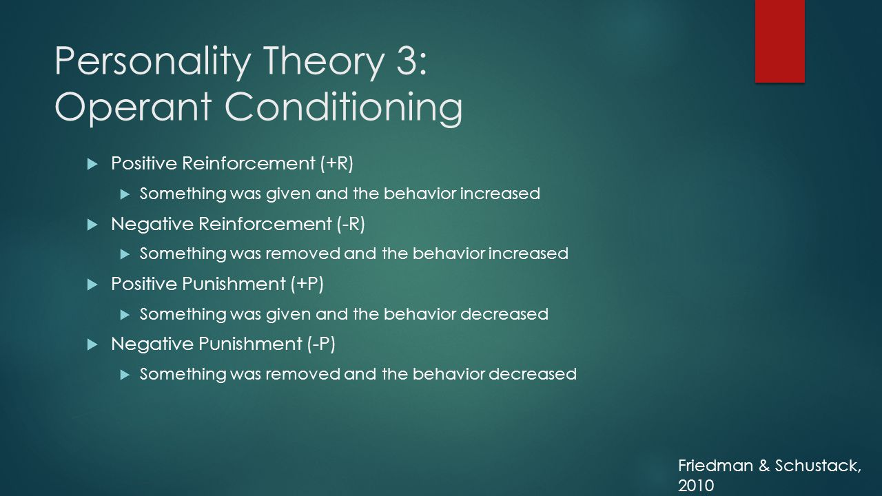 Personality Theory 3: Operant Conditioning  Positive Reinforcement (+R)  Something was given and the behavior increased  Negative Reinforcement (-R)  Something was removed and the behavior increased  Positive Punishment (+P)  Something was given and the behavior decreased  Negative Punishment (-P)  Something was removed and the behavior decreased Friedman & Schustack, 2010
