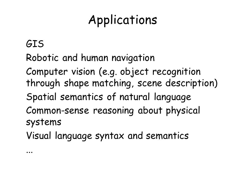 Applications GIS Robotic and human navigation Computer vision (e.g.