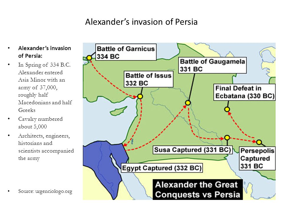 Alexander's invasion of Persia Alexander's invasion of Persia: In Spring of 334 B.C. Alexander entered Asia Minor with an army of 37,000, roughly half