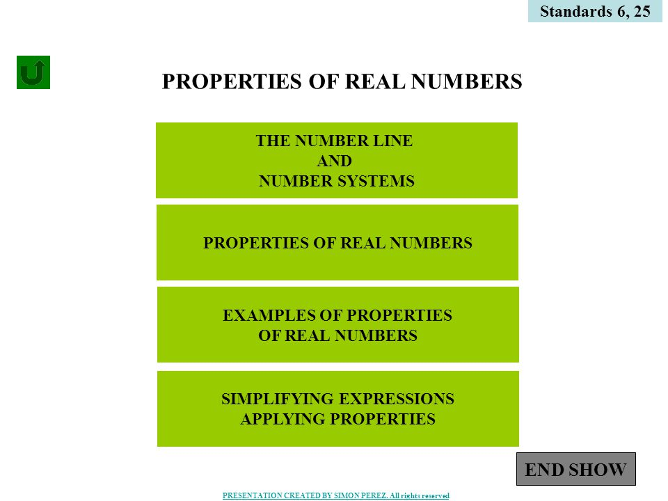 1 THE NUMBER LINE AND NUMBER SYSTEMS Standards 6, 25 PROPERTIES OF REAL NUMBERS EXAMPLES OF PROPERTIES OF REAL NUMBERS SIMPLIFYING EXPRESSIONS APPLYING PROPERTIES END SHOW PRESENTATION CREATED BY SIMON PEREZ.