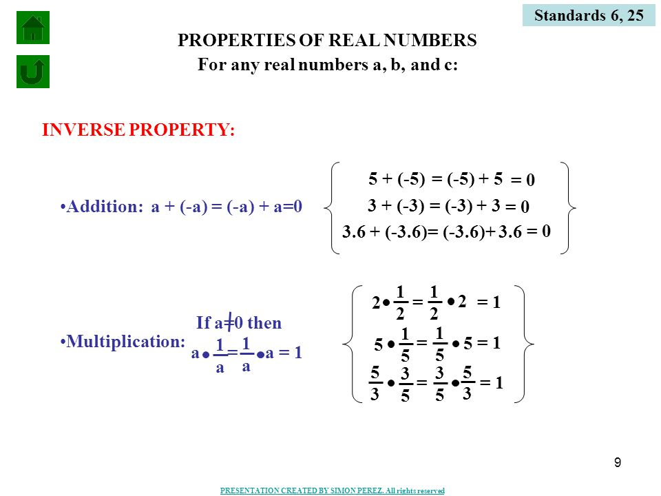9 PROPERTIES OF REAL NUMBERS INVERSE PROPERTY: Addition:a + (-a) = (-a) + a=0 5 + (-5) = (-5) + 5 3 + (-3) = (-3) + 3 3.6 + (-3.6) = (-3.6)+ 3.6 Multiplication: For any real numbers a, b, and c: = 1 = 0 a = a = 1 1 a 1 a If a=0 then 3 5 5 3 1 5 5 1 2 2 = 2 1 2 = 5 3 3 5 1 5 = 5 Standards 6, 25 PRESENTATION CREATED BY SIMON PEREZ.