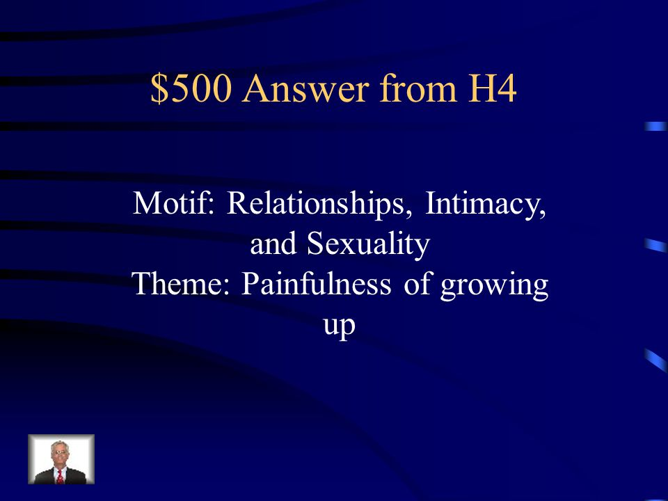 $500 Question from H4 What's the motif and theme in this quote.