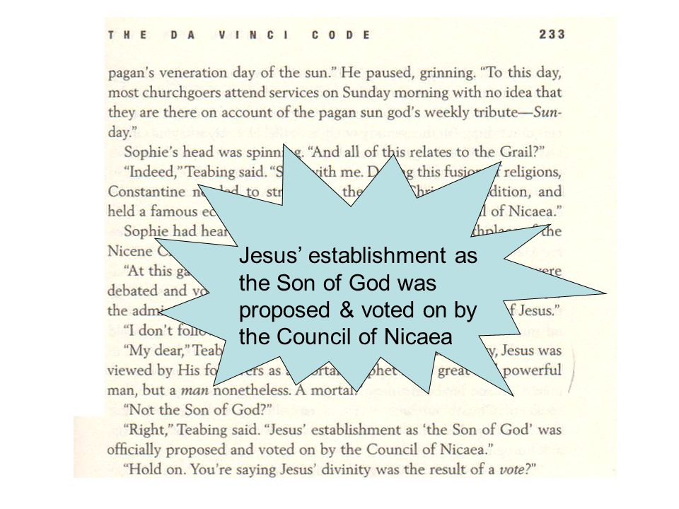 Jesus' establishment as the Son of God was proposed & voted on by the Council of Nicaea