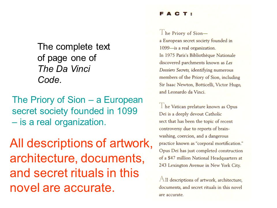 The complete text of page one of The Da Vinci Code.
