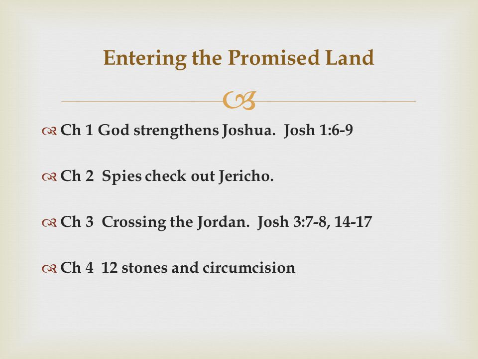   Ch 1 God strengthens Joshua.Josh 1:6-9  Ch 2 Spies check out Jericho.