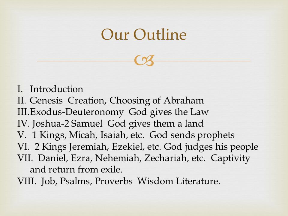  Our Outline I.Introduction II.Genesis Creation, Choosing of Abraham III.Exodus-Deuteronomy God gives the Law IV.