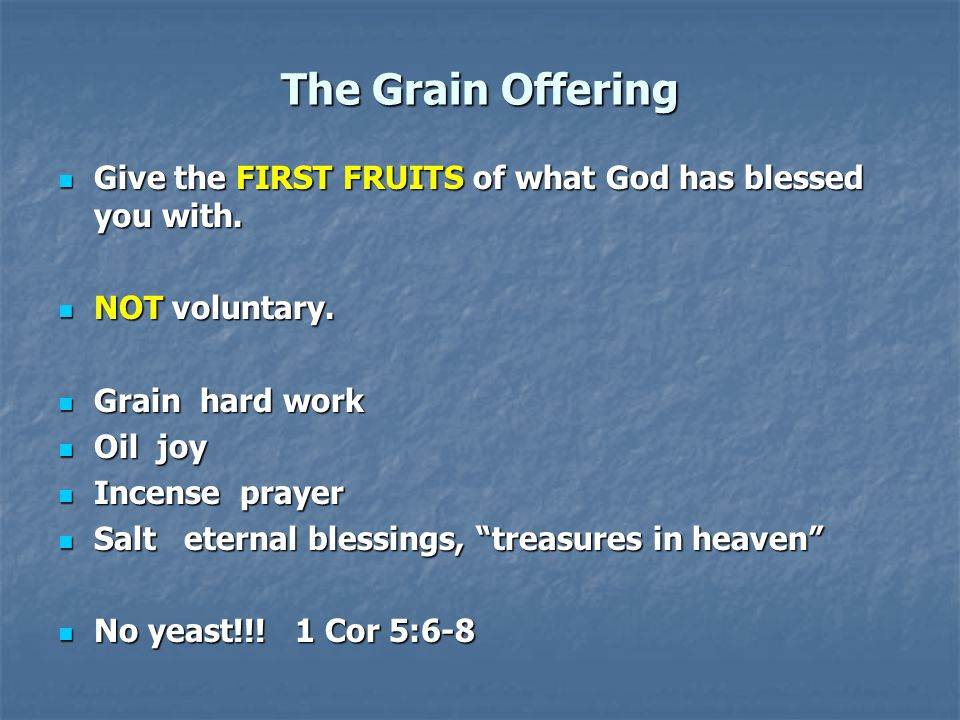 The Grain Offering Give the FIRST FRUITS of what God has blessed you with.