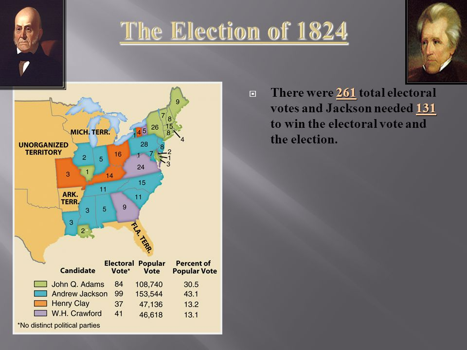 261 131  There were 261 total electoral votes and Jackson needed 131 to win the electoral vote and the election.