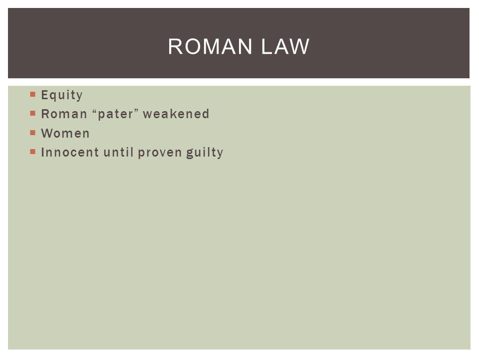  Equity  Roman pater weakened  Women  Innocent until proven guilty ROMAN LAW