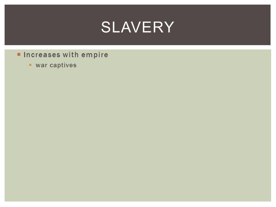  Increases with empire  war captives SLAVERY