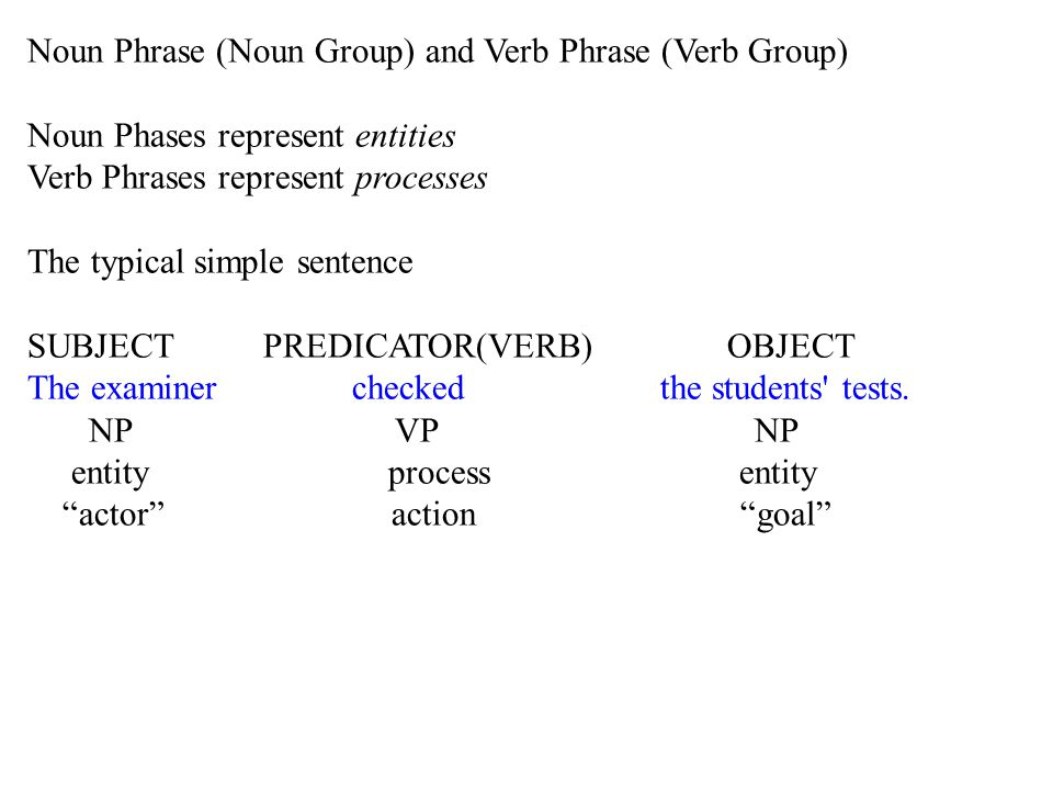 Noun Phrase (Noun Group) and Verb Phrase (Verb Group) Noun Phases represent entities Verb Phrases represent processes The typical simple sentence SUBJECT PREDICATOR(VERB) OBJECT The examiner checked the students tests.
